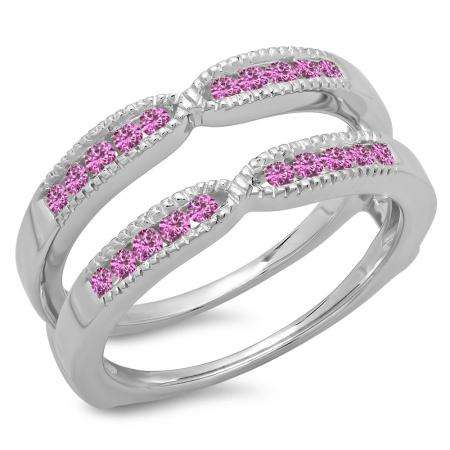 0.35 Carat (ctw) 10K White Gold Round Cut Pink Sapphire Ladies Millgrain Anniversary Wedding Band Guard Double Ring 1/3 CT