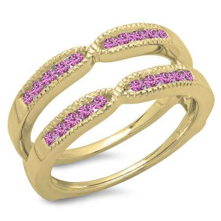 0.35 Carat (ctw) 10K Yellow Gold Round Cut Pink Sapphire Ladies Millgrain Anniversary Wedding Band Guard Double Ring 1/3 CT