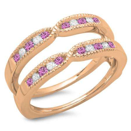 0.35 Carat (ctw) 18K Rose Gold Round Cut Pink Sapphire & White Diamond Ladies Millgrain Anniversary Wedding Band Guard Double Ring 1/3 CT