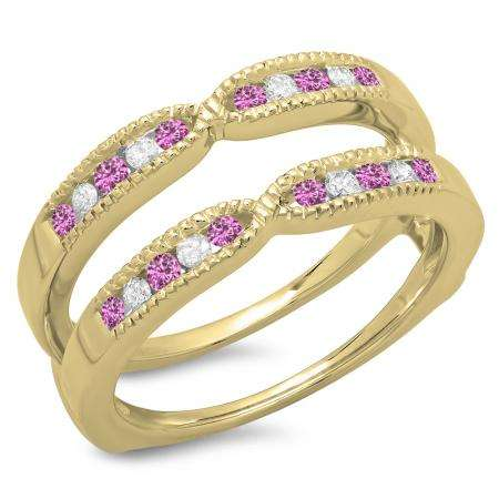 0.35 Carat (ctw) 18K Yellow Gold Round Cut Pink Sapphire & White Diamond Ladies Millgrain Anniversary Wedding Band Guard Double Ring 1/3 CT