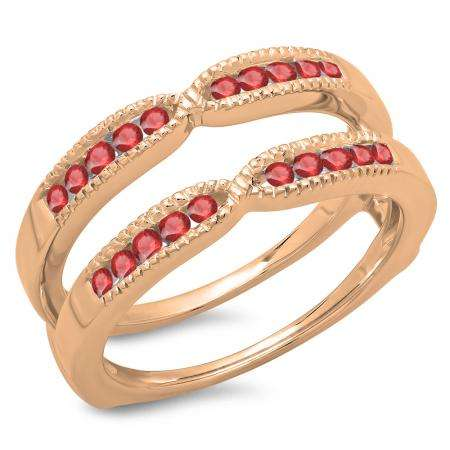 0.35 Carat (ctw) 10K Rose Gold Round Cut Ruby Ladies Millgrain Anniversary Wedding Band Guard Double Ring 1/3 CT