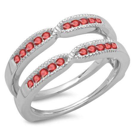 0.35 Carat (ctw) 10K White Gold Round Cut Ruby Ladies Millgrain Anniversary Wedding Band Guard Double Ring 1/3 CT