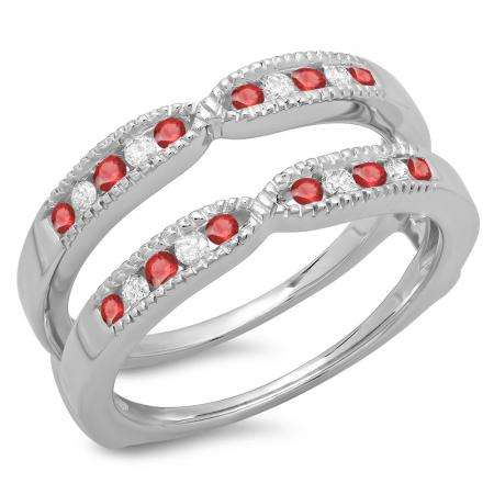 0.35 Carat (ctw) 14K White Gold Round Cut Ruby & White Diamond Ladies Millgrain Anniversary Wedding Band Guard Double Ring 1/3 CT