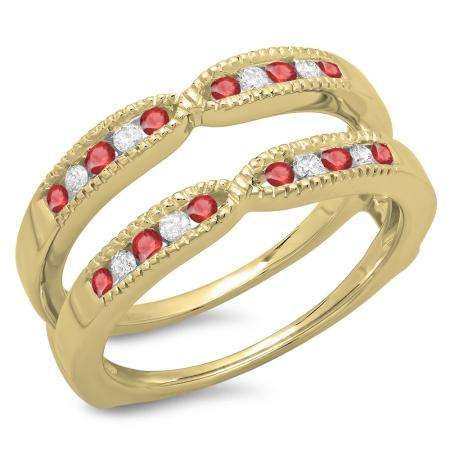 0.35 Carat (ctw) 14K Yellow Gold Round Cut Ruby & White Diamond Ladies Millgrain Anniversary Wedding Band Guard Double Ring 1/3 CT