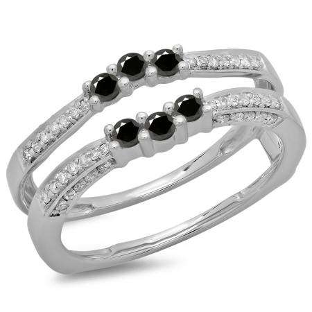 0.50 Carat (ctw) 10K White Gold Round Cut Black & White Diamond Ladies Anniversary Wedding Band Enhancer Guard Double Ring 1/2 CT