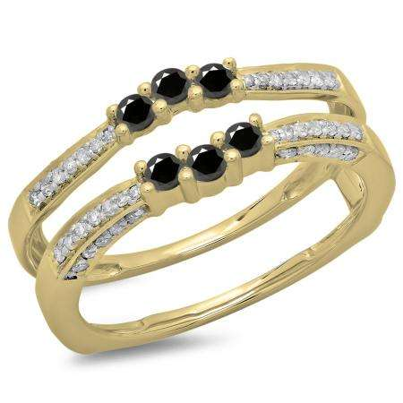 0.50 Carat (ctw) 14K Yellow Gold Round Cut Black & White Diamond Ladies Anniversary Wedding Band Enhancer Guard Double Ring 1/2 CT