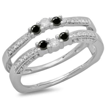 0.50 Carat (ctw) 14K White Gold Round Cut Black & White Diamond Ladies Anniversary Wedding Band Enhancer Guard Double Ring 1/2 CT