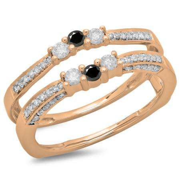 0.50 Carat (ctw) 18K Rose Gold Round Cut Black & White Diamond Ladies Anniversary Wedding Band Enhancer Guard Double Ring 1/2 CT