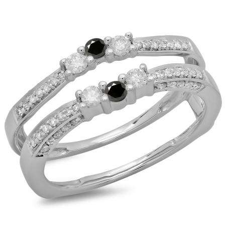 0.50 Carat (ctw) 18K White Gold Round Cut Black & White Diamond Ladies Anniversary Wedding Band Enhancer Guard Double Ring 1/2 CT