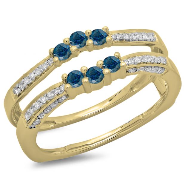 0.50 Carat (ctw) 10K Yellow Gold Round Cut Blue & White Diamond Ladies Anniversary Wedding Band Enhancer Guard Double Ring 1/2 CT