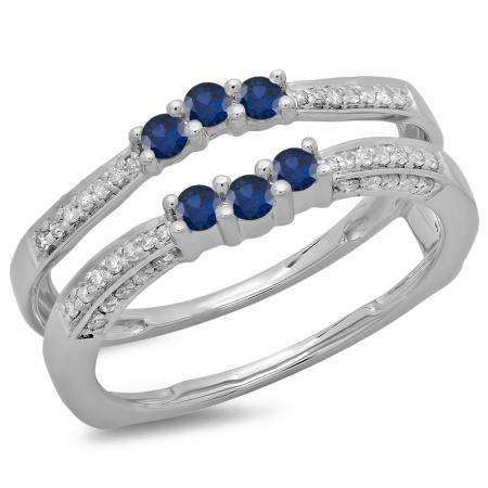0.50 Carat (ctw) 14K White Gold Round Cut Blue Sapphire & White Diamond Ladies Anniversary Wedding Band Enhancer Guard Double Ring 1/2 CT