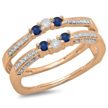 0.50 Carat (ctw) 14K Rose Gold Round Cut Blue Sapphire & White Diamond Ladies Anniversary Wedding Band Enhancer Guard Double Ring 1/2 CT