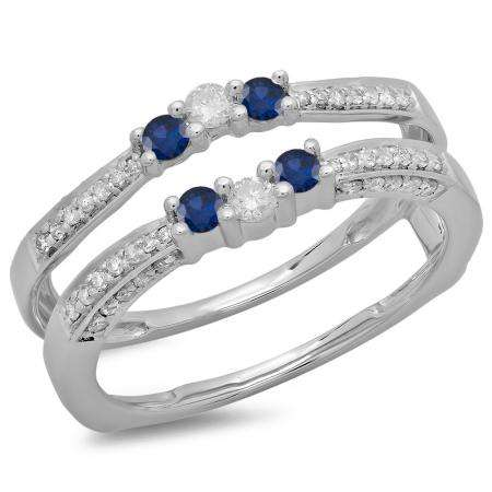 0.50 Carat (ctw) 18K White Gold Round Cut Blue Sapphire & White Diamond Ladies Anniversary Wedding Band Enhancer Guard Double Ring 1/2 CT