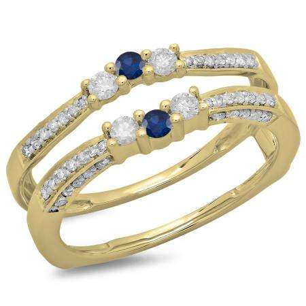 0.50 Carat (ctw) 14K Yellow Gold Round Cut Blue Sapphire & White Diamond Ladies Anniversary Wedding Band Enhancer Guard Double Ring 1/2 CT