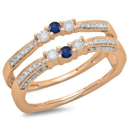 0.50 Carat (ctw) 18K Rose Gold Round Cut Blue Sapphire & White Diamond Ladies Anniversary Wedding Band Enhancer Guard Double Ring 1/2 CT