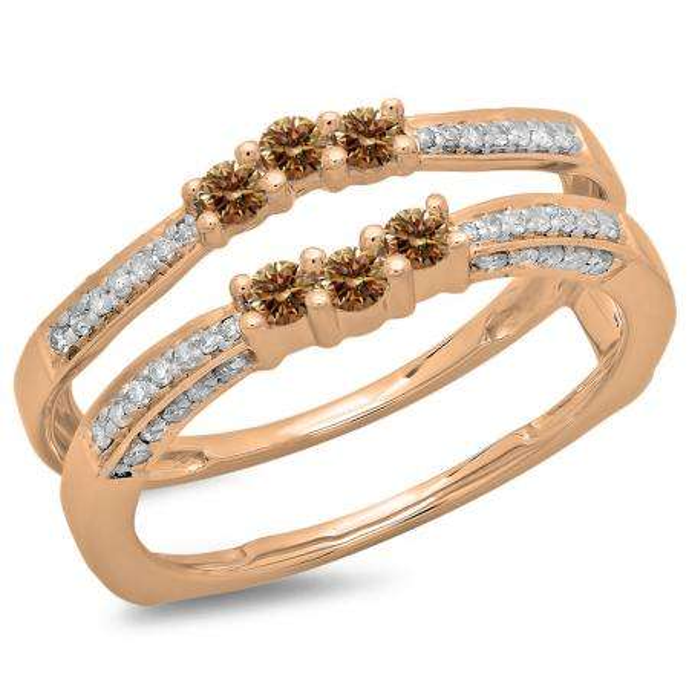 0.50 Carat (ctw) 10K Rose Gold Round Cut Champagne & White Diamond Ladies Anniversary Wedding Band Enhancer Guard Double Ring 1/2 CT