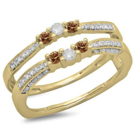 0.50 Carat (ctw) 18K Yellow Gold Round Cut Champagne & White Diamond Ladies Anniversary Wedding Band Enhancer Guard Double Ring 1/2 CT