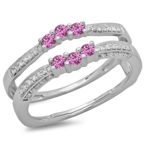 0.50 Carat (ctw) 14K White Gold Round Cut Pink Sapphire & White Diamond Ladies Anniversary Wedding Band Enhancer Guard Double Ring 1/2 CT