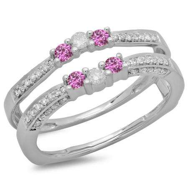 0.50 Carat (ctw) 10K White Gold Round Cut Pink Sapphire & White Diamond Ladies Anniversary Wedding Band Enhancer Guard Double Ring 1/2 CT
