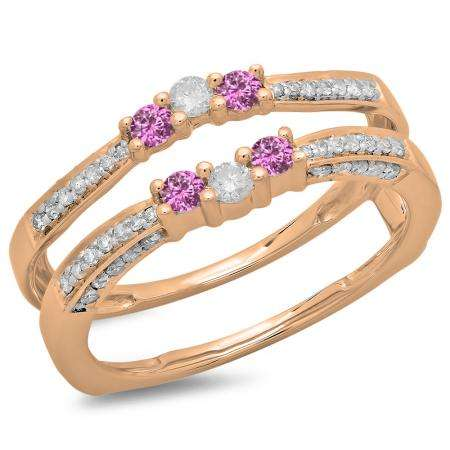 0.50 Carat (ctw) 18K Rose Gold Round Cut Pink Sapphire & White Diamond Ladies Anniversary Wedding Band Enhancer Guard Double Ring 1/2 CT