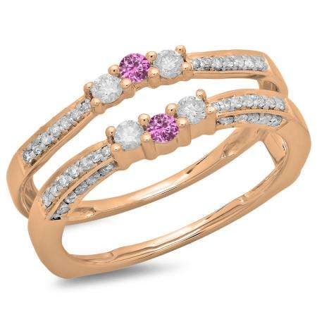 0.50 Carat (ctw) 14K Rose Gold Round Cut Pink Sapphire & White Diamond Ladies Anniversary Wedding Band Enhancer Guard Double Ring 1/2 CT