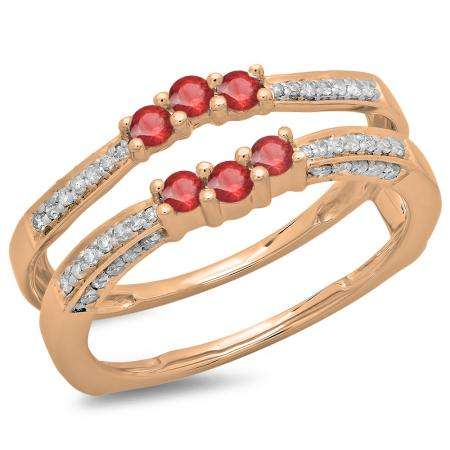 0.50 Carat (ctw) 18K Rose Gold Round Cut Ruby & White Diamond Ladies Anniversary Wedding Band Enhancer Guard Double Ring 1/2 CT