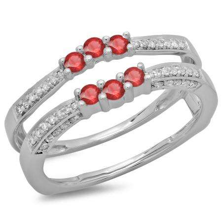 0.50 Carat (ctw) 18K White Gold Round Cut Ruby & White Diamond Ladies Anniversary Wedding Band Enhancer Guard Double Ring 1/2 CT