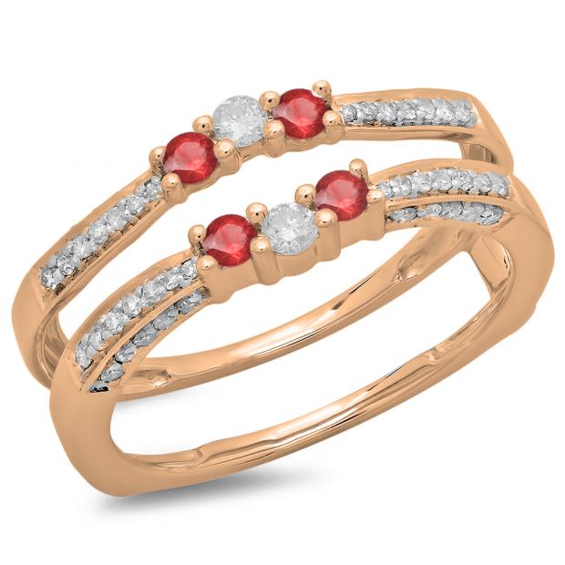 0.50 Carat (ctw) 14K Rose Gold Round Cut Ruby & White Diamond Ladies Anniversary Wedding Band Enhancer Guard Double Ring 1/2 CT