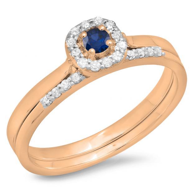 0.30 Carat (ctw) 10K Rose Gold Round Blue Sapphire & White Diamond Ladies Bridal Halo Engagement Ring With Matching Band Set 1/3 CT