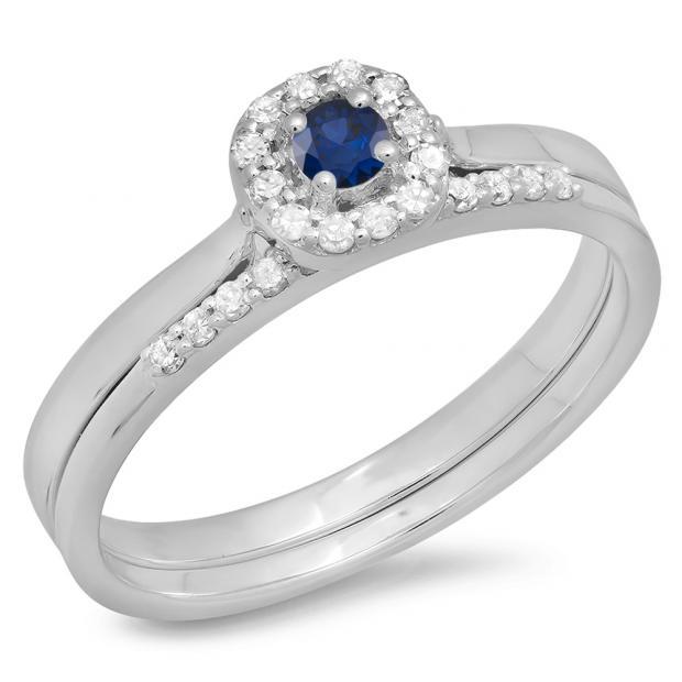 0.30 Carat (ctw) 10K White Gold Round Blue Sapphire & White Diamond Ladies Bridal Halo Engagement Ring With Matching Band Set 1/3 CT