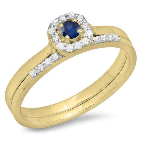 0.30 Carat (ctw) 10K Yellow Gold Round Blue Sapphire & White Diamond Ladies Bridal Halo Engagement Ring With Matching Band Set 1/3 CT