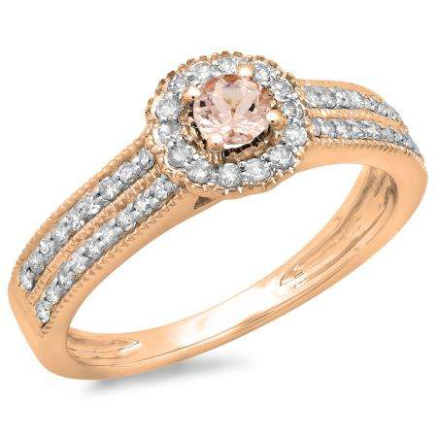 0.50 Carat (ctw) 14K Rose Gold Round Morganite & White Diamond Ladies Bridal Halo Style Cluster Engagement Ring 1/2 CT