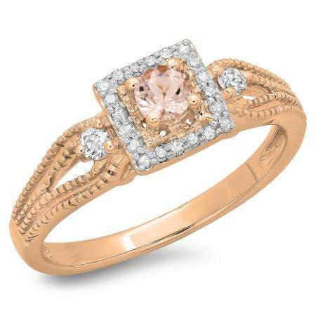0.40 Carat (ctw) 18K Rose Gold Round Cut Morganite & White Diamond Ladies Bridal Vintage Halo Style Engagement Ring