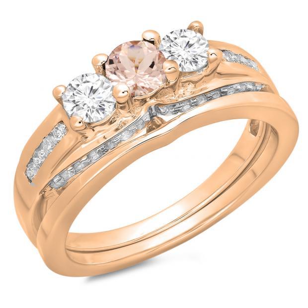 1.10 Carat (ctw) 18K Rose Gold Round Morganite & White Diamond Ladies Bridal 3 Stone Engagement Ring With Matching Band Set 1 CT
