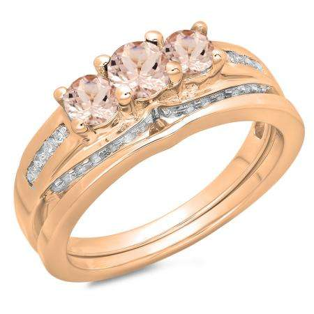 1.10 Carat (ctw) 18K Rose Gold Round Morganite & White Diamond Ladies Bridal 3 Stone Engagement Ring With Matching Band Set 1 CT