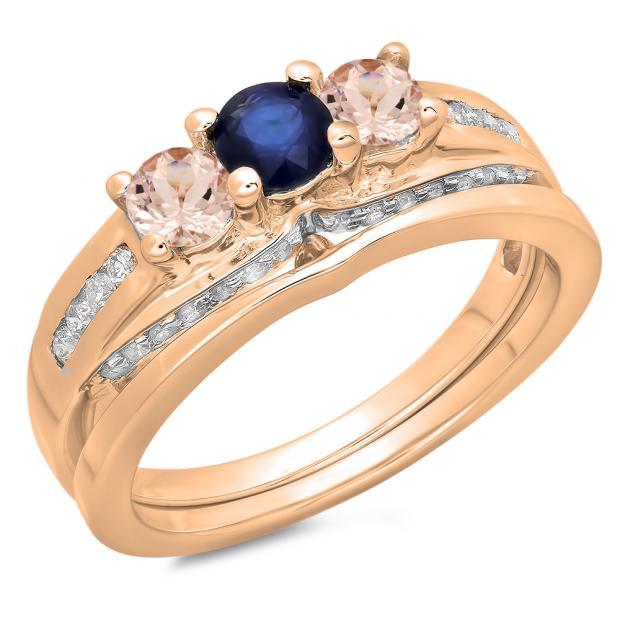 1.10 Carat (ctw) 14K Rose Gold Round Blue SapphireMorganite & White Diamond Ladies Bridal 3 Stone Engagement Ring With Matching Band Set 1 CT