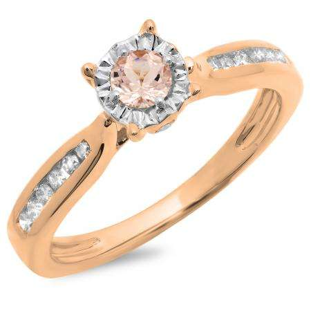 0.40 Carat (ctw) 14K Rose Gold Round Cut Morganite & White Diamond Ladies Bridal Solitaire With Accents Engagement Ring