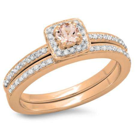 0.50 Carat (ctw) 14K Rose Gold Round Cut Morganite & White Diamond Ladies Bridal Halo Engagement Ring With Matching Band Set 1/2 CT