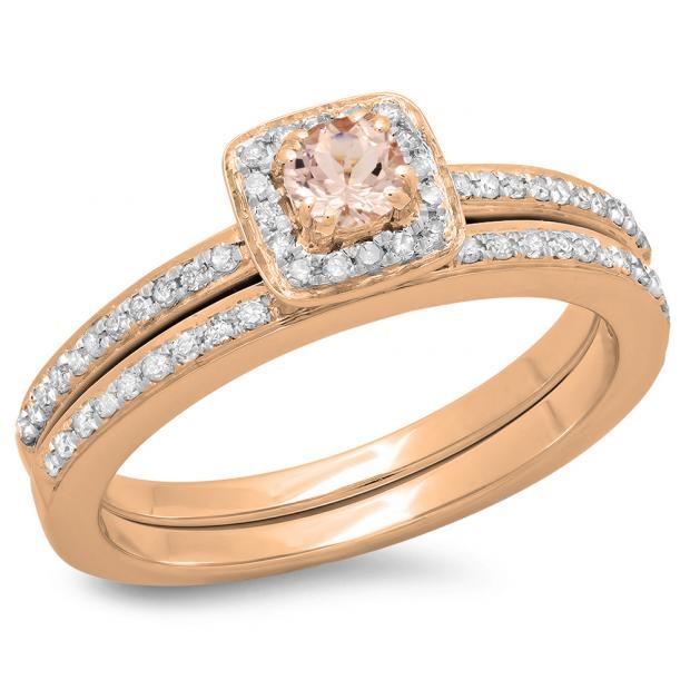 0.50 Carat (ctw) 18K Rose Gold Round Cut Morganite & White Diamond Ladies Bridal Halo Engagement Ring With Matching Band Set 1/2 CT