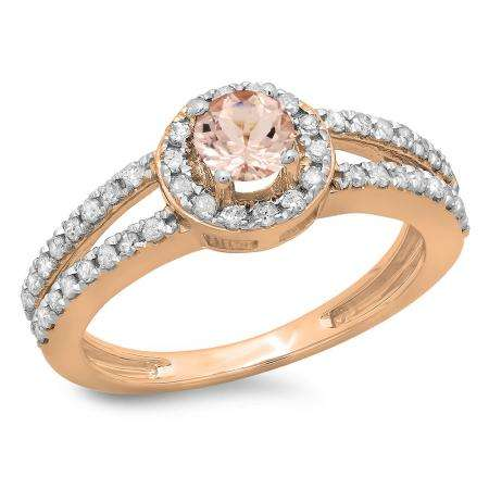 0.90 Carat (ctw) 10K Rose Gold Round Cut Morganite & White Diamond Ladies Bridal Split Shank Halo Style Engagement Ring