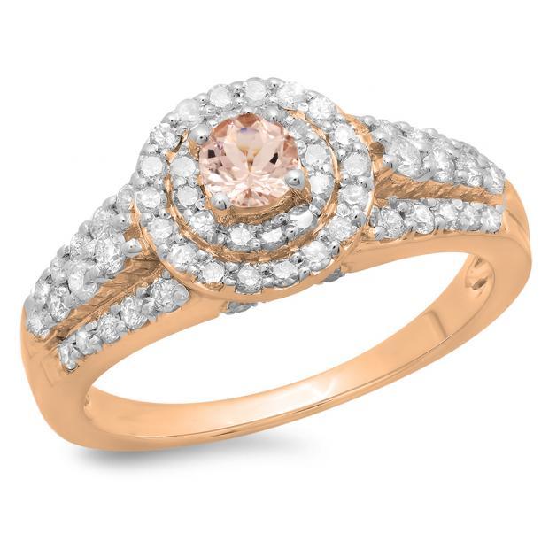 1.00 Carat (ctw) 14K Rose Gold Round Cut Morganite & White Diamond Ladies Vintage Style Bridal Halo Engagement Ring 1 CT