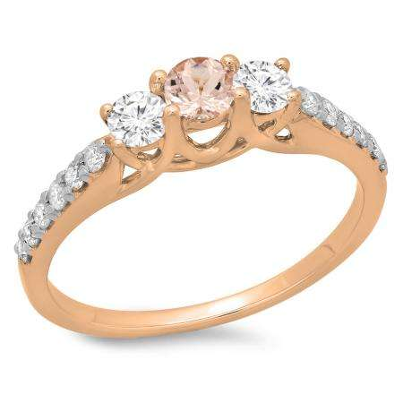 0.75 Carat (ctw) 14K Rose Gold Round Cut Morganite & White Diamond Ladies Bridal 3 Stone Engagement Ring 3/4 CT