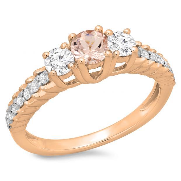 1.00 Carat (ctw) 10K Rose Gold Round Cut Morganite & White Diamond Ladies Bridal 3 Stone Engagement Ring 1 CT