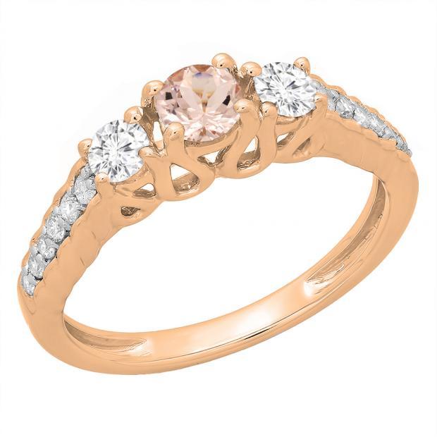 0.75 Carat (ctw) 10K Rose Gold Round Cut Morganite & White Diamond Ladies Bridal 3 Stone Engagement Ring 3/4 CT