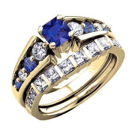 1.75 Carat (ctw) 14K Yellow Gold Princess & Round White Diamond And Blue Sapphire Ladies Bridal Engagement Ring Set 1 3/4 CT