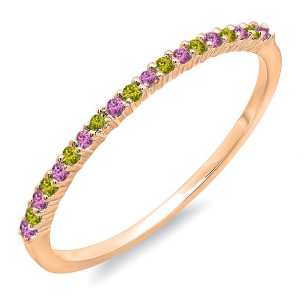 0.15 Carat (ctw) 18K Rose Gold Round Pink Sapphire & Peridot Ladies Anniversary Wedding Band Stackable Ring