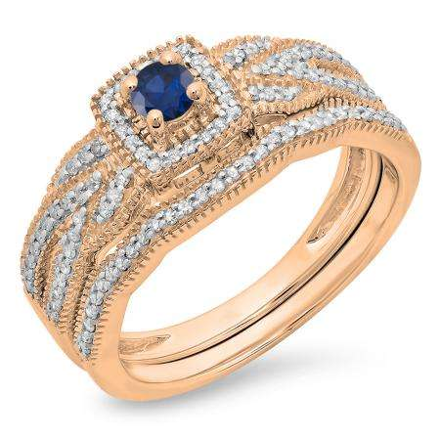 0.45 Carat (ctw) 10K Rose Gold Round Blue Sapphire & White Diamond Ladies Bridal Halo Engagement Ring With Matching Band Set 1/2 CT