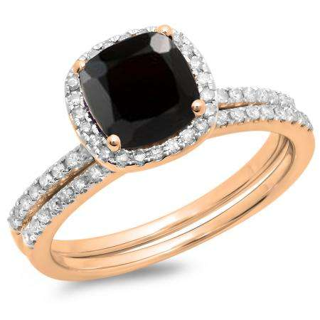 1.75 Carat (ctw) 10K Rose Gold Cushion Cut Black Sapphire & Round Cut White Diamond Ladies Bridal Halo Engagement Ring With Matching Band Set 1 3/4 CT