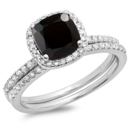1.75 Carat (ctw) 10K White Gold Cushion Cut Black Sapphire & Round Cut White Diamond Ladies Bridal Halo Engagement Ring With Matching Band Set 1 3/4 CT