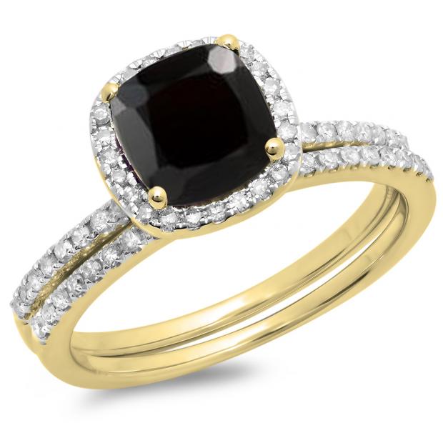 1.75 Carat (ctw) 10K Yellow Gold Cushion Cut Black Sapphire & Round Cut White Diamond Ladies Bridal Halo Engagement Ring With Matching Band Set 1 3/4 CT